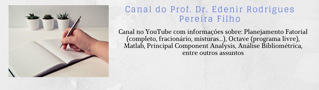 Canal no YouTube do Prof. Edenir Rodrigues Pereira Filho